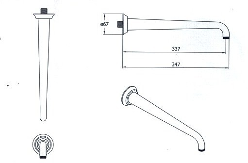 Douchekop arm lengte 347 mm
