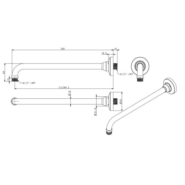 Douchekop arm lengte 350 mm
