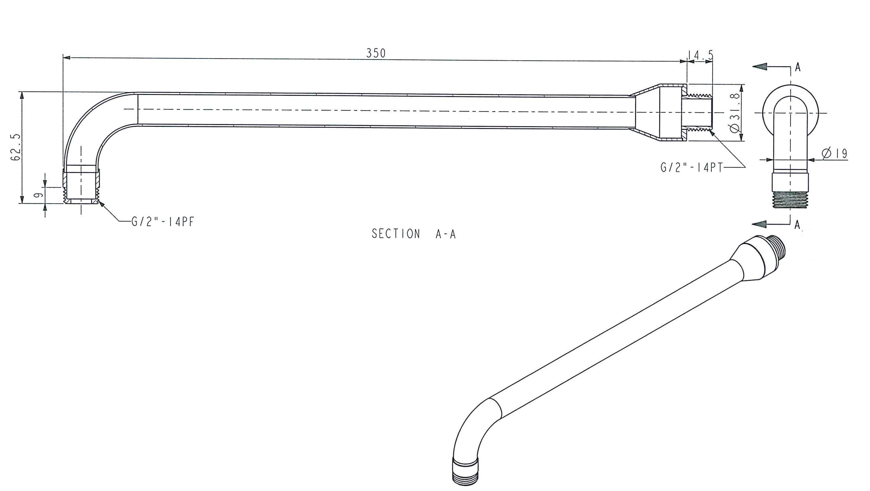 Douchekop arm RVS 316 lengte 350 mm