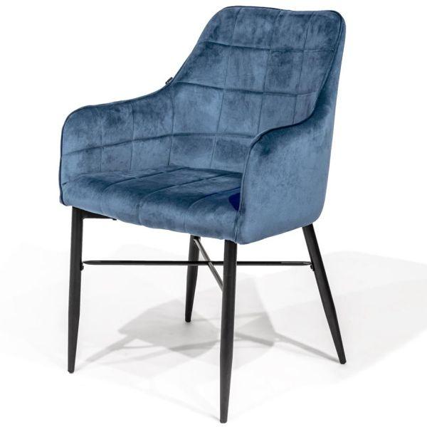 Blauwe velours eetkamerstoel Conor - Dekimpe