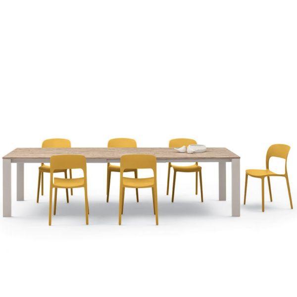Stapelbare eetkamerstoel Gipsy mosterd geel - Bontempi (set van 2)