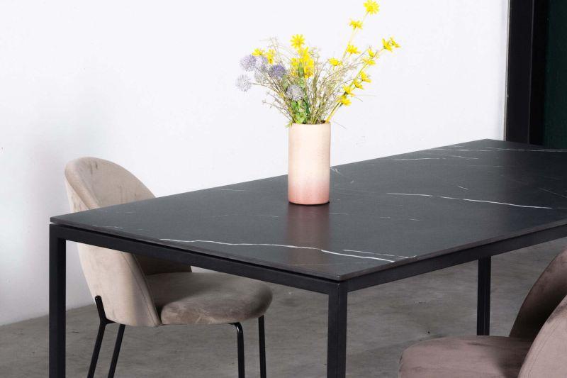 Zwarte eettafel Felix Nero Marquina keramiek - Unit 14