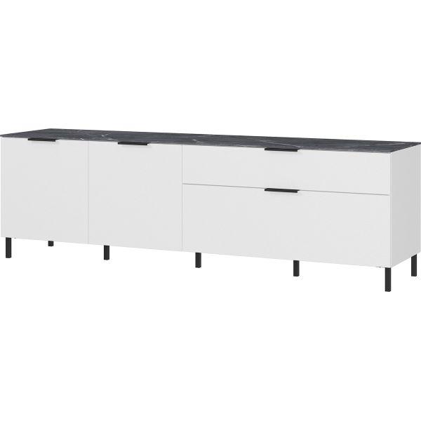 Tv-meubel California wit met marmer 192cm - Germania