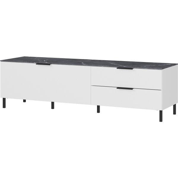 Tv-meubel California wit met marmer 164 cm - Germania