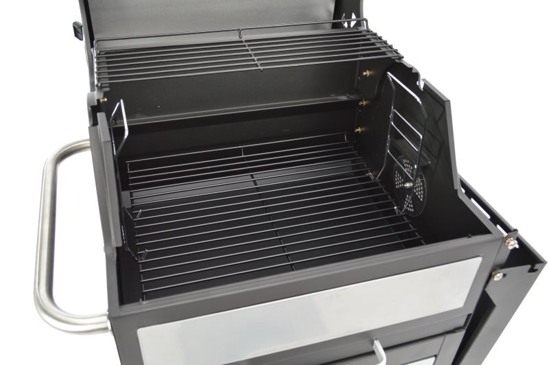 Grillchef houtskoolbbq grillwagen zilver