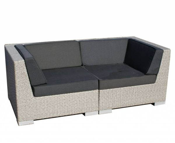 2-delige loungeset Moray grijs geborsteld wicker