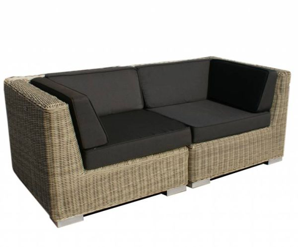 2-delige loungebank Londen naturel rond wicker