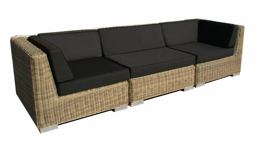 Loungebank Londen 3-delig - naturel rond wicker