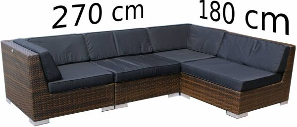 Loungeset Moray 4-delig - bruin plat wicker