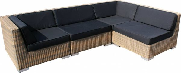 Loungeset Moray 4-delig - rond cappuccino wicker