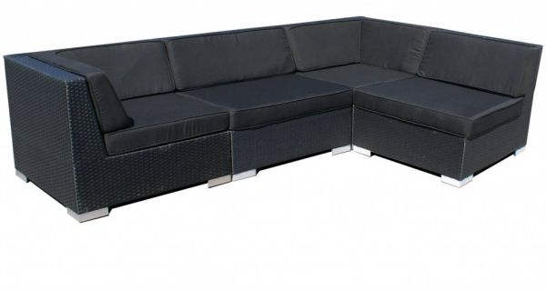 Loungeset Moray 4-delig - zwart plat wicker