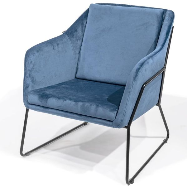 Loungestoel Evert in blauw velours - Dekimpe