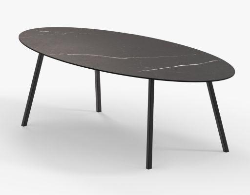 Zwarte ovale eettafel Flavie in Nero Marquina keramiek - Unit 14