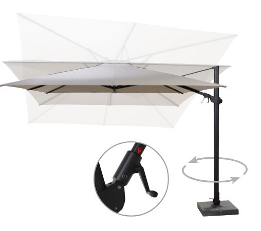 Parasol Siesta Premium 4 Seasons Outdoor Charcoal