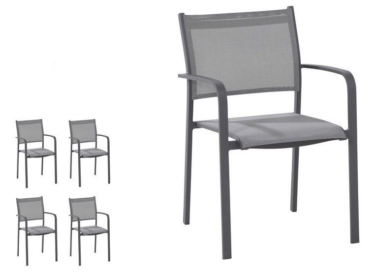 Set van 4 tuinstoelen Tosca matt carbon - Taste by 4SO