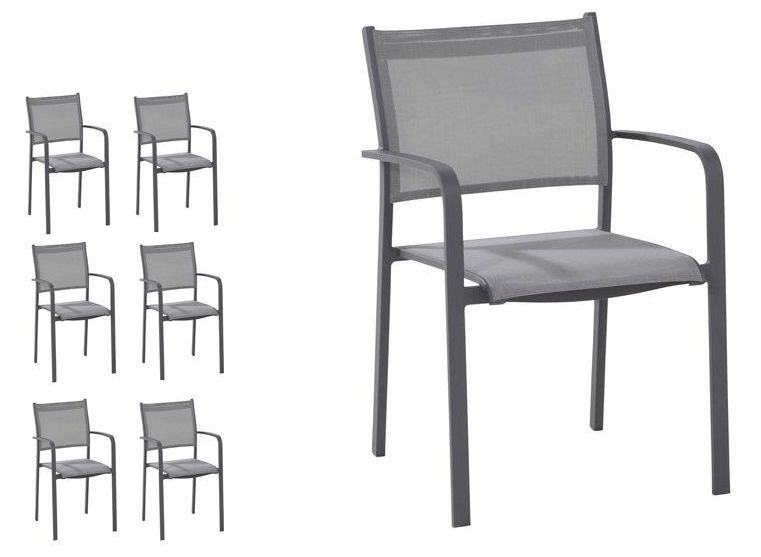 Set van 6 tuinstoelen Tosca matt carbon - Taste by 4SO