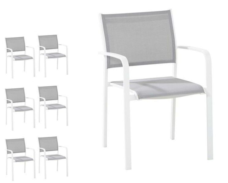 Set van 6 tuinstoelen Tosca White - Taste by 4SO