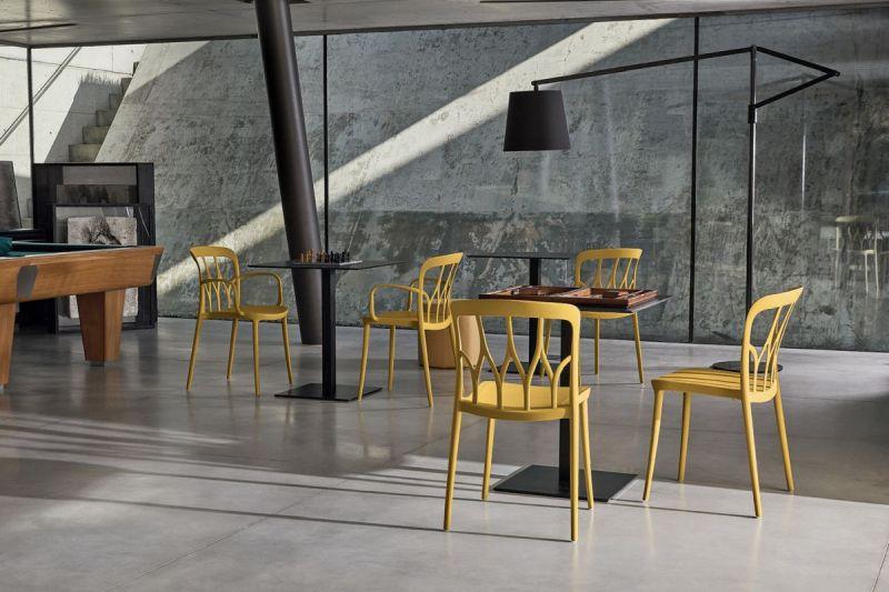 Stapelbare eetkamerstoel Galaxy mosterd geel - Bontempi (set van 2)