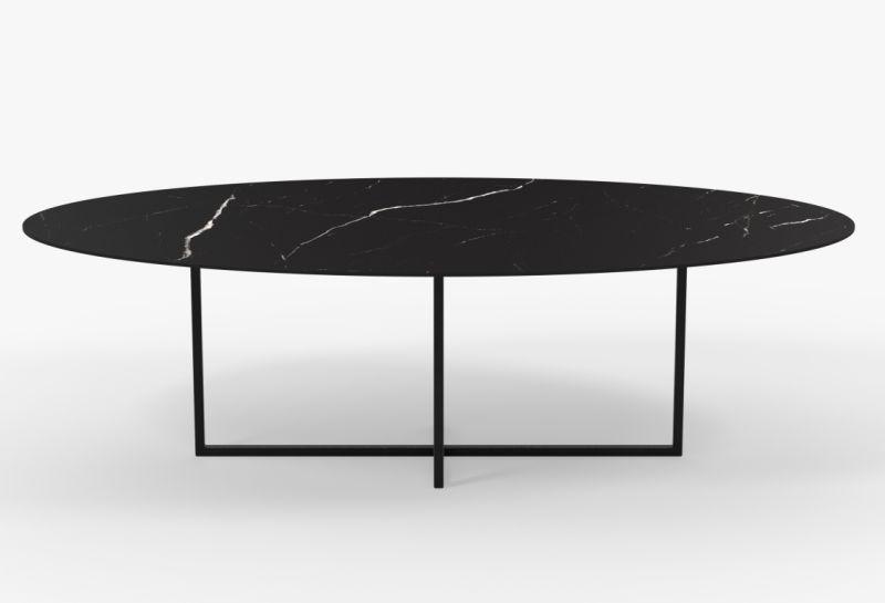 Zwarte ovale eettafel Cyriel in Nero Marquina keramiek - Unit 14